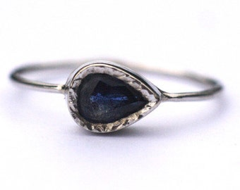 Blue Sapphire ring handcrafted in 14k gold, Genuine Teardrop ring, September Birthstone, Anniversary Gift, Unique Minimalist jewelry for Her