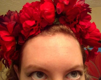 Red Peony and Sunflower Crown