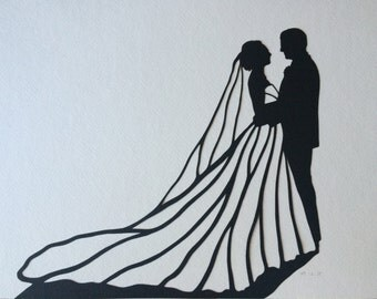 Wedding Silhouette Wall Art - First Anniversary Paper Gift - Custom Wedding papercut - Silhouette Picture - Bridal Gift - Unique Gift