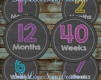 Chalkboard Monthly Printable Monthly Baby Stickers or Weekly Bump Stickers! DIGITAL FILES! 4inch Rounds