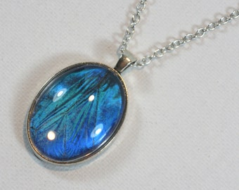 Real Blue Morpho Butterfly Wing Pendant Necklace Antique Silver Finish Jewelry