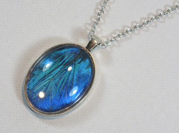 Blue Butterfly Jewelry: Real Blue Morpho Butterfly Wing Pendant Necklace Antique