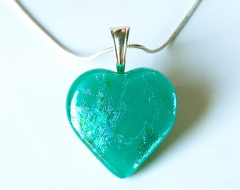 Heart Pendant Green Dichroic Fused Glass