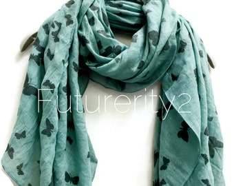 Swarm Of Butterfly Teal Green Scarf / Spring Summer Scarf / Autumn Winter Scarf / Gifts For Her / Women Accessories / Handmade