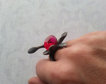 TOUCH RINGS rings in sterling silver and semi precious stones: Ruby and aquamarine
