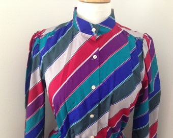 80's striped shirt dress, size 10/12