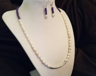 Pearl and purple necklace and earring set