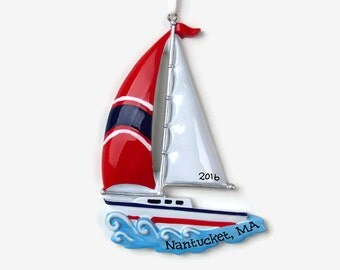 SHIPS FREE - Sail Boat Personalized Ornament - Vacation - Hand Personalized Christmas Ornament - Personalized Ornament