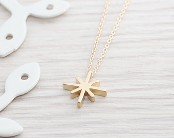 Gold Plated, Simple Animated Bright Star Charm, Color is Your Choice, Necklace
