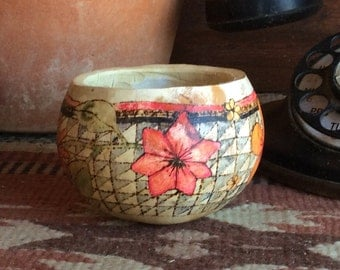 Small floral gourd bowl, decorative gourd, floral gourd, painted gourd