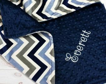 Personalized Baby Blanket, Boy Minky Blanket, Boy Baby Blanket, Chevron Minky Blanket, Boy Chevron Blanket, Minky Baby Blanket