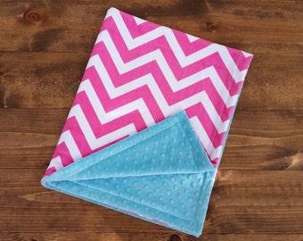 SALE! Personalized Baby Blanket, Baby Girl Minky Blanket, Girl Baby Blanket, Chevron Baby Blanket, Monogrammed Blanket