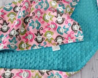 Minky Baby Blanket, Girl Minky Blanket, Girl Baby Blanket, Monkey Baby Blanket, Monkey Minky Blanket