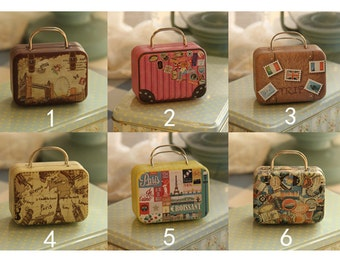 100 Mini Suitcase Tins - Miniature Travel Luggage Collectibles -  Gift Packaging Containers - Party Wedding Favors