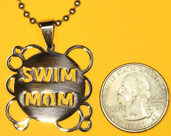 Swim Mom Pendant, Stainless Steel, Shiny Polished Finish Charm-Handmade rubber cord and Stainless Steel chain necklace incl.