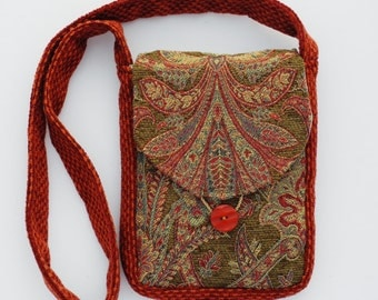 Olive, Gold and Red Medieval Inspired Print Tapestry Shoulder Bag, Red Chenille Strap