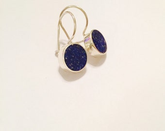 Silver Earrings With Lapis Stone