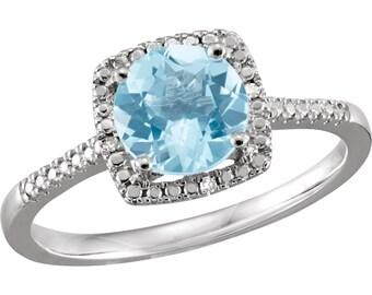 Sterling Silver Sky Blue Topaz Diamond Ring