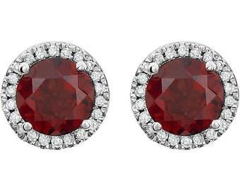 Mozambique Garnet Diamond Halo Earrings