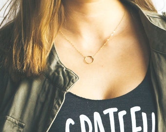 Dainty Circle Necklace, Karma Necklace, Gold Circle Necklace, Eternity Necklace, Layering Necklace, Bridesmaid Necklace