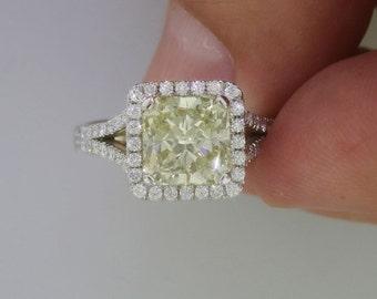 Yellow Diamond Ring, Diamond Halo Ring, White Gold Ring, Gold Halo Ring, Diamond Gold Ring, Engagement Accessory FREE SHIPPING