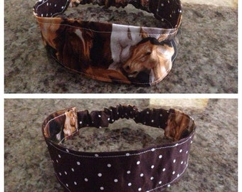 Adult horse/polka dot reversible fabric headband/hairband/hair accessory