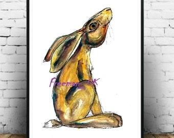 Harriet The Hare. Moon gazing Art print