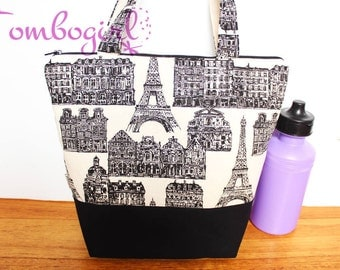 Insulated Lunch Bag / lunch Tote, Australian made, zipped, waterproof lining – Large, Paris B/W