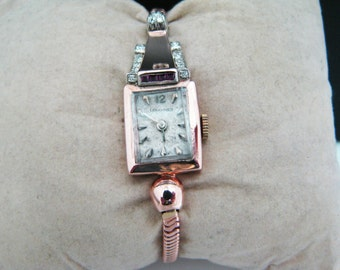 a837 Beautiful Vintage Women's 14k Rose Gold Longines Watch with Diamonds & Ruby