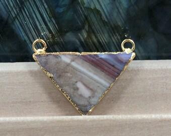 Jasper Triangle Pendant, Triangle  Connector, Triangle Pendant, 18K Gold Plated Pendant, Gemstone Pendant, PG0942H