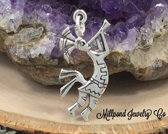 Kokopelli Charm, Native American Charm, Sterling Silver Charm, PS3150
