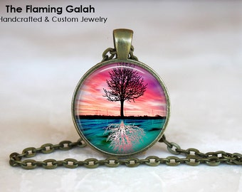 TREE of LIFE REFLECTION Pendant •  Woodland • Pink Sunset • Gift Under 20 • Made in Australia (P0253)