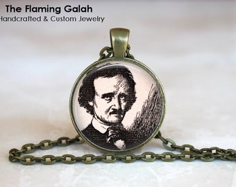 EDGAR ALLAN POE Pendant • Gothic Poet • Gothic Poetry • Steampunk • The Raven • Gift Under 20 • Made in Australia (P0596)