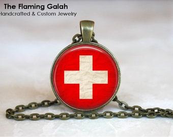 SWISS Flag Pendant • Vintage Switzerland Flag • Vintage Swiss Flag • Swiss Gift • Gift Under 20 • Made in Australia (P0421)