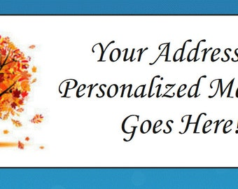 60 Personalized Colorful Fall Tree Leaves Return Address Labels