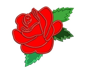 Rose Machine Embroidery Applique Design Digitized Pattern - Instant Download