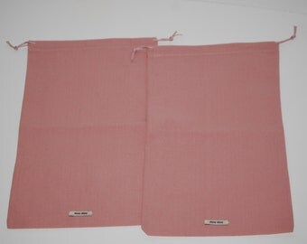 Pair of Vintage MIU MIU  Dusty Pink Drawstring Dust Bags / Sleeper Bags PRADA