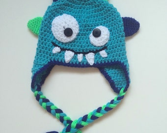 Crochet Blue Monster hat