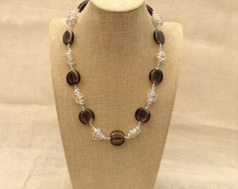Silver-Lined Black  Glass and Silver Twist Necklace