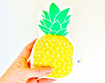 Pineapple Soft Rattle Hand Printed Baby Toy