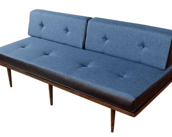 Restored Blue and Black Mid Century Daybed Sofa