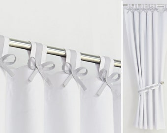 Gray & White Nursery Curtain Tab Top Panel with Bows Blackout Lining and Tieback. Custom sizes and colours.