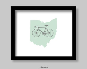 Printable INSTANT DOWNLOAD Ohio Mint Bicycle Art Print