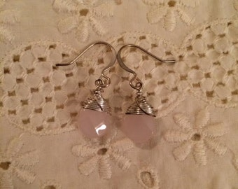 Handcrafted Faceted Pink Quartz Briolette Wire Wrapped Earrings