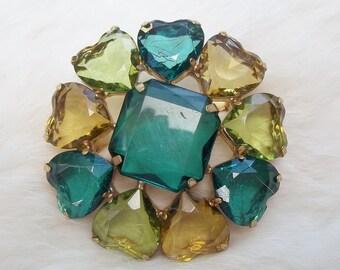 VINTAGE HEART BROOCH Plastic Stones