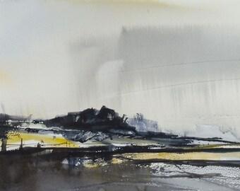 RAIN POINT, Devon, June 2016. Original Watercolour Landscape Painting.