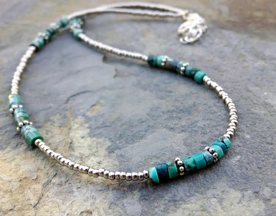 turquoise and silver beaded choker turquoise by