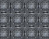 3x4 Vintage Photo Backdrop of Gray Floral Deco Tile Pattern - FabVinyl 3x4ft (FV6061)