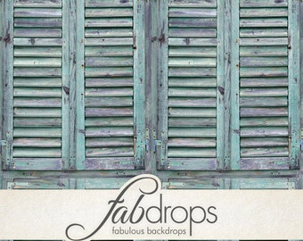 5x5 Weathered Sea Green Shutters Vintage Photography backdrop - Fab Vinyl 5x5 ft (FV6706)