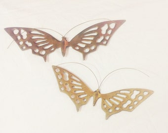 Pair of Brass Hanging Butterflies